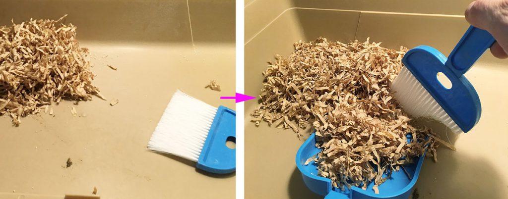 ハリネズミのケージ床を掃き掃除