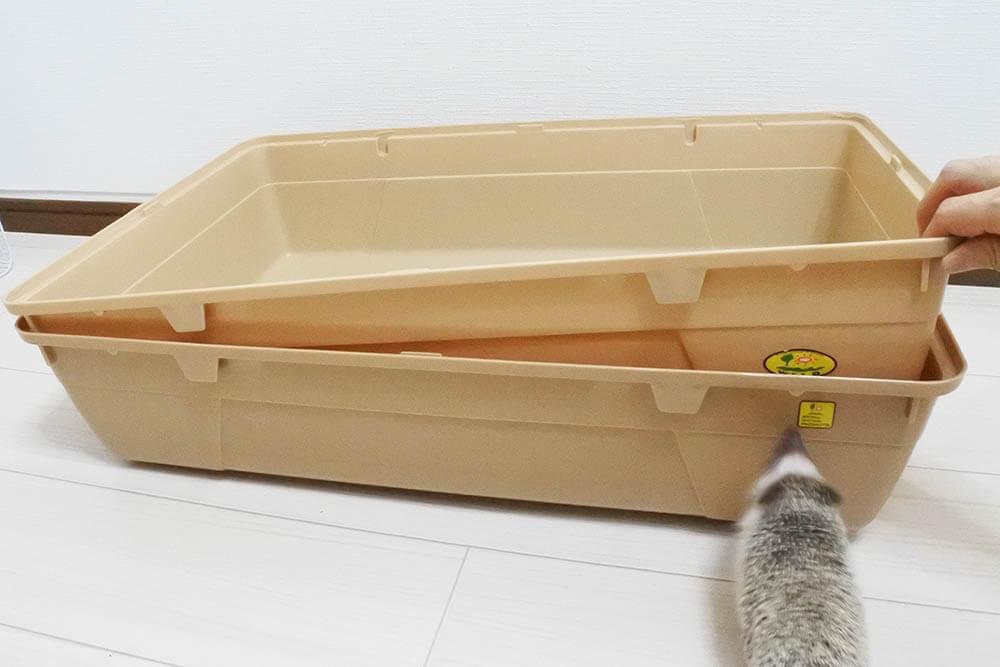 シャトルマルチのベーストレイを重ねて収納