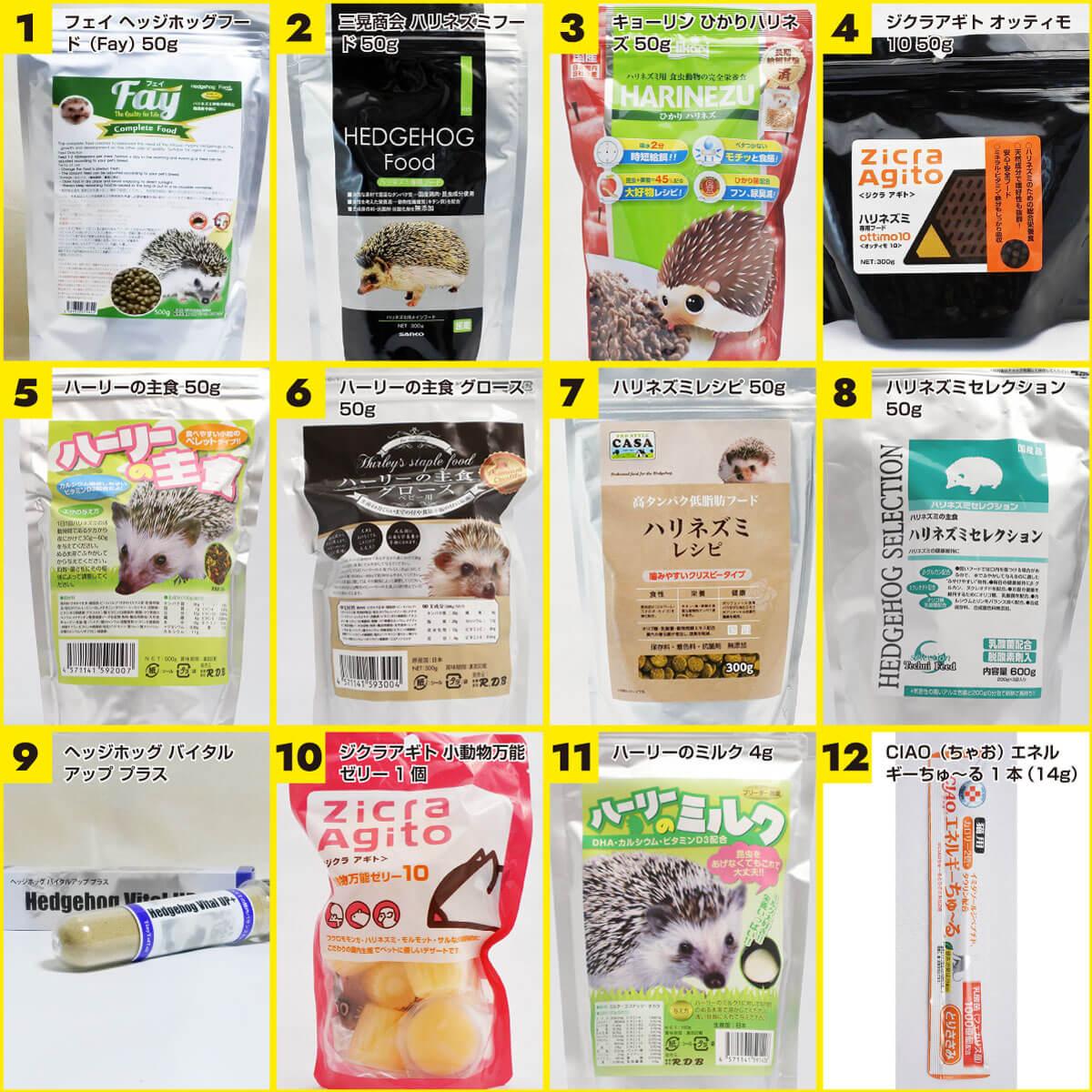 【12種類から5つ選ぶ】ハリネズミフード&補助食品 お試しセット